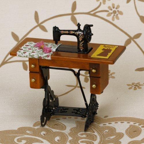 Zantec Nähmaschine von Puppenstube Miniatur Vintage mit dem Stoff Neues in der Maßstab 1/12Box