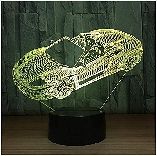 Zbzmm Nachtlampje 7 kleuren Auto lamp 3D Visual LED Nachtlampje voor kinderen met USB-aansluiting tafellamp baby slapen nachtlampje kerstcadeau cadeau