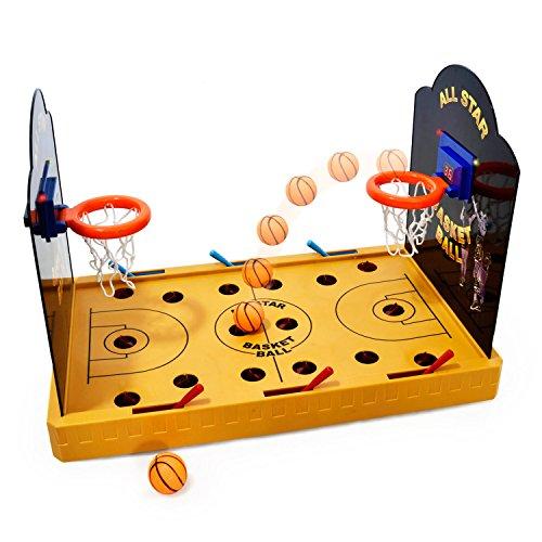 GOODS+GADGETS Elektronisches Basketball Tischspiel - Miniatur Tischbasketball elektrisches Arcade Game Basketballspiel