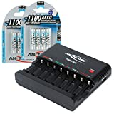 Ansmann 1001-0006-US-590-3ANSMANN Powerline 8 AAA & AA Smart Battery Charger for AAA, AA Rechargeable Batteries w. Discharge function and USB-Port + 1100mAh AAA Batteries (8