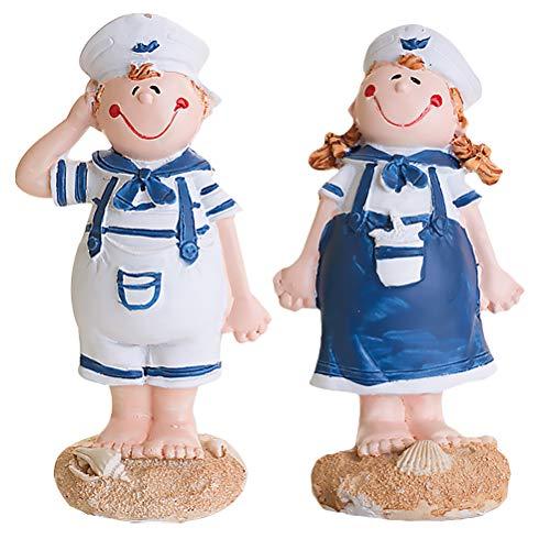 2 peças de escultura estilo mediterrâneo para amantes da marinha - ornamentos decorativos para casa Casa Criativa