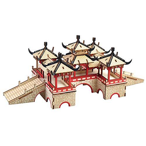 New Land Rompecabezas de madera 3D El Puente de Loto Arquitectura DIY Ensamble Modelo Kits Educativos Woodcraft Jigsaw Juguetes para Niños