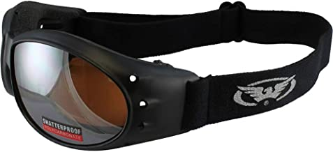 Red Baron Motorcycle/Aviator Goggles Black Padded Frame w/Driving Mirrored Lens