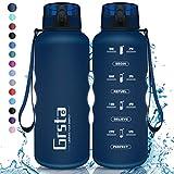 Grsta Trinkflasche, Sport Trinkflasche 1.5L BPA-frei Sportflasche Kunststoff mit Filter Tritan Wasserflasche kohlensäure für Kinder, Fahrrad, Gym, Yoga, Outdoor, Camping