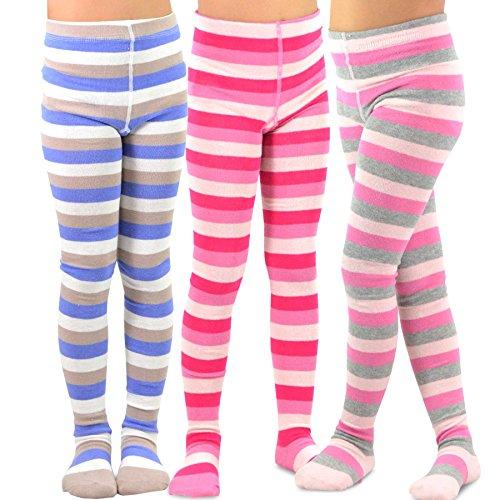 TeeHee (Naartjie) Kids Girls Fashion Cotton Tights 3 Pair Pack (6-8 Years, Stripes)
