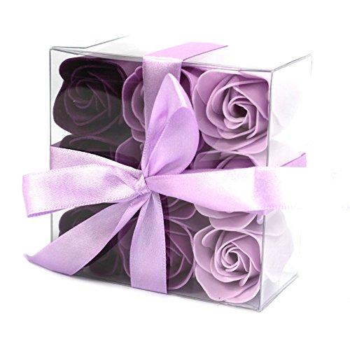 Zeep Bloemen - Lavendel Rozen met Geschenkdoos (Set van 9)