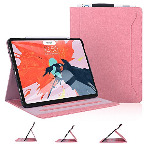 Skycase iPad Pro 12.9 Case (2018), iPad Pro 12.9 3rd Generation Case, [Support Apple Pencil Charging] Auto Dormancy Canvas Multi-Angle Viewing Stand Folio Case for Apple iPad Pro 12.9 inch 2018, Pink
