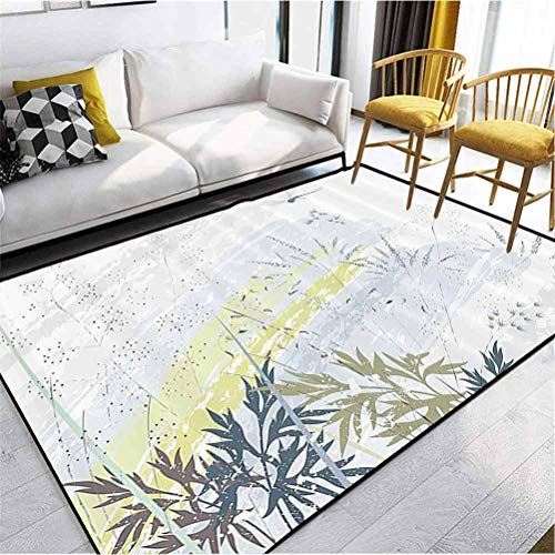 Country Decor Collection Kids Area Rug Non Slip Kitchen Floor Mats Cushioned Comfort Wild Herb Grass Field Distressed Background with Dragonflies Deep Lifestyle Graphic Work Grey Green 5 x 2.5 ft