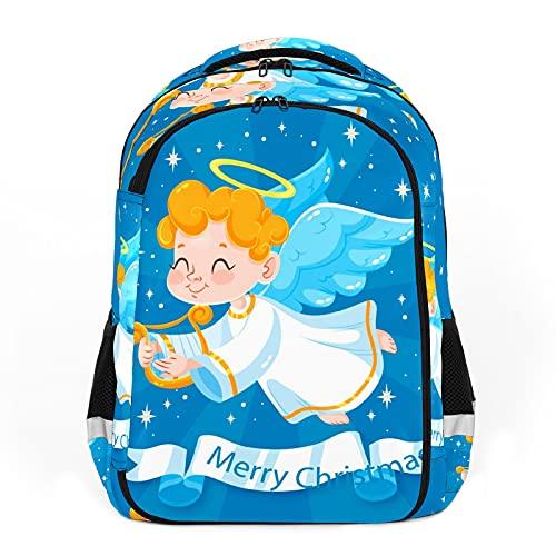 Alas de ángel de Navidad, color azul, linda luz de las estrellas perfecta para la escuela y las mochilas de viaje, mochilas de estudiantes perfectas para todas las edades