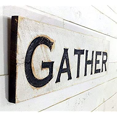 Gather Sign Horizontal - Carved in a Cypress Board Rustic Distressed Kitchen Farmhouse Style Restaurant Cafe Wooden Wood Wall Art Decoration