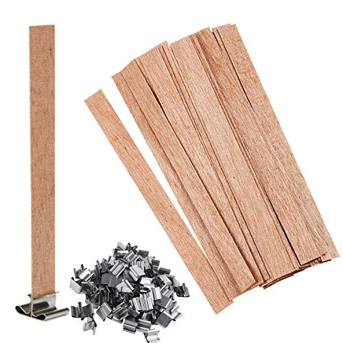 Candle Wicks for Candle Making, 100Pcs Wooden Candle Wicks&100Pcs Iron Stand Candle Cores, Naturally Smokeless Wood Wicks for Candle DIY Craft (5.1 X 0.5 Inch)