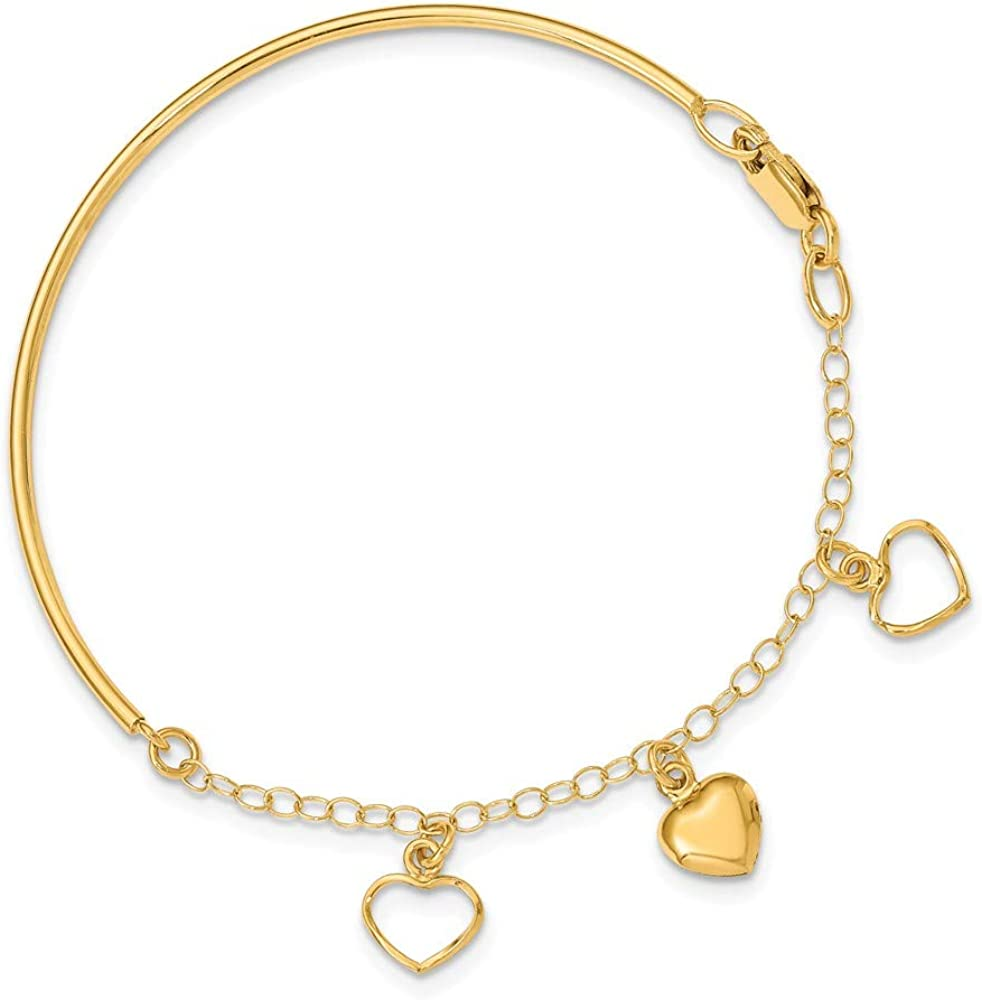 Solid 14k Yellow Gold Polished Dangle Heart Chain Bracelet Bangle - with Secure Lobster Lock Clasp (2.2mm)