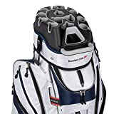 Founders Club Premium Cart Bag with 14 Way Organizer Divider Top (White Navy)