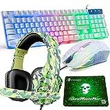 Tastiera e Mouse da gioco, 4 in 1 Combo da gioco, tastiera con cavo retroilluminato a LED, 2400 dpi, 6 pulsanti ottici, cuffie da gioco, tappetino per PC (Verde)