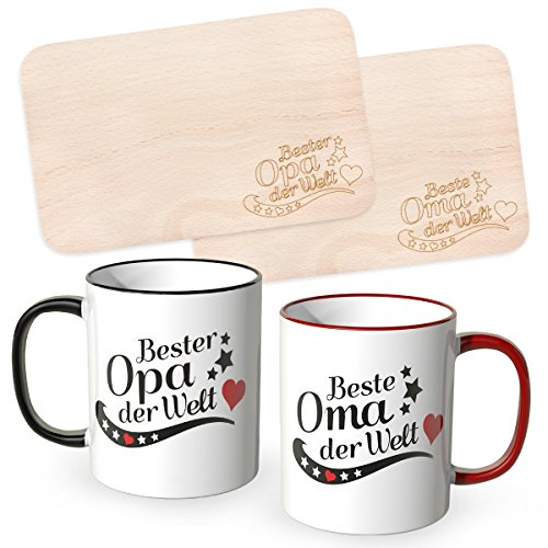WANDKINGS® Frühstücksbrettchen mit Gravur Beste Oma der Welt und Bester Opa der Welt mit dazugehörigen Tassen im Set, Großeltern