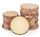 16pcs Tranche de Bois Naturel 9-10cm Rondelles de Bois disques en Bois,Découpe Parfaite pour Le processus de Bricolage Cadeau décoration