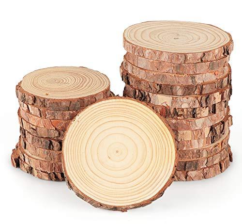 ilauke 16 Stücke Holzscheiben Holz Log Scheiben 9-10cm Runde Naturholz Baumscheiben Ca.10mm Dicke für DIY Handwerk Holz-Scheiben Hochzeit Mittelstücke Weihnachten Dekoration Baumscheibe