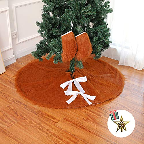 Odot Christmas Tree Skirts, Soft Faux Fur Large Plush Round Base Mat Xmas Decorations for Home New Year Holiday Party Decor Indoor Outdoor Fits Any Size Tree (78cm,brown)