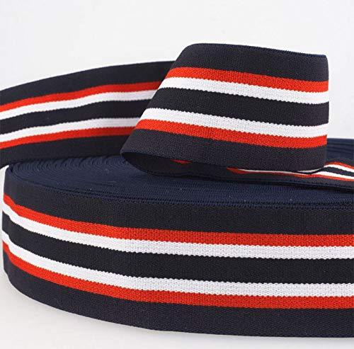 Zierstoff einfach nähen Fashion Elastic-Band, Dehnbares Gummiband gestreift, 40 mm breit - 3 Meter, Marine