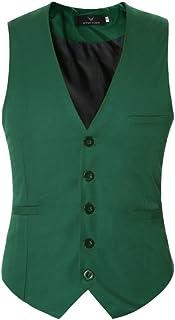 YOUTHUP Men's Waistcoat Slim Fit Formal Wedding Suit Vest V Neck with Pocket Multiple Colours
