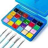 HIMI Juego de Pintura Gouache 24 Colores Jelly Paint Set en Estuche de Transporte con Paleta Portátil, 24 Colores Vibrantes Para Artistas, Estudiantes, Novatos (azul)