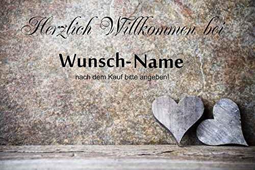 crealuxe Fussmatte Herzlich Willkommen mit Wunschname (nach dem Kauf angeben) 4 - Fussmatte bedruckt Türmatte Innenmatte Schmutzmatte lustige Motivfussmatte