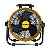 DEWALT DXF-2042 High-Velocity Industrial,Floor,Drum,Barn,Warehouse Fan Heavy Duty Mover Portable Air Circulator 3-Speed Adjustable Tilt, 20', Yellow