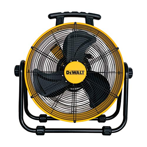 "DEWALT DXF-2042 High-Velocity Industrial,Floor,Drum,Barn,Warehouse Fan Heavy Duty Mover Portable Air Circulator 3-Speed Adjustable Tilt, 20"", Yellow"