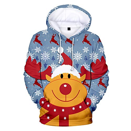 Strungten Herren Weihnachten Kapuzenpullover Weihnachtsanzugmuster Ugly 3D Elch Print Langarm Tunnelzug Hoodie Caps Sweatshirt Drawstring Pullover Hoodie Xmas Pulli Kapuzenpulli Weihnachtspullover