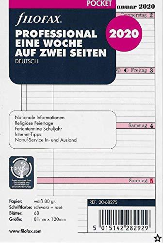 Filofax Kalendereinlage Pocket Professional 1 Woche auf 2 Seiten (deutsch)2020
