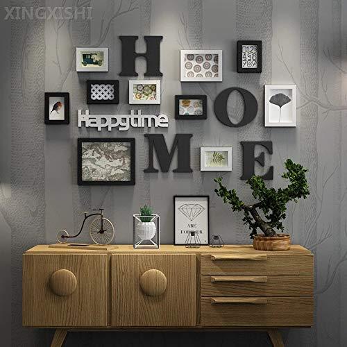 XINGXISHI Edge Bilderrahmen Collage für 10 Bilder, Fotos, Kunstdrucke, Illustrationen, Graphiken und Mehr – Moderner Wand Multifotorahmen mit Integrierter Holz Antik (Schwarz Weiß)