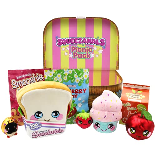 Squeezamals Wicker Pattern Plush Picnic Pack- Kids Picnic Set with 5 Food Plushies- Reusable Lunch Box Includes Scented Food Mini Plushies for Toddler Pretend Play, Multi-Color (SQ01062)