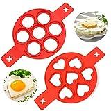 Pancake Moldes Silicona, NALCY 7 Ring Molde Formas, Molde Tortitas Silicona, Antiadherente Pancake Molde, Maker Anillo de huevo Hacer un Pastel Rápidamente (2 piezas Rojo)