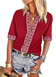 Chase Secret Women Plus Size Short Sleeve Embroidered Printed Sleeve Tunic Blouse Boho Tops and Shirts Red X-Large