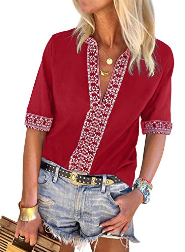 Chase Secret Women Ethnic Style Short Sleeve Embroidered Printed Sleeve Tunic Blouse Boho Tops and Shirts Red Medium