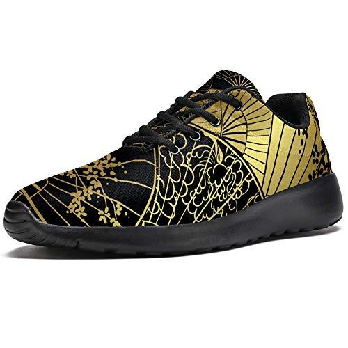TIZORAX Laufschuhe für Herren, japanischer Regenschirm, Fans, modische Sneaker, Netzstoff, atmungsaktiv, Wandern, Tennisschuh, Mehrfarbig - mehrfarbig - Größe: 37 1/3 EU