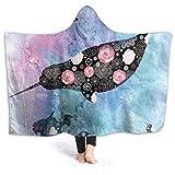 Inaayayi Manta de forro polar con capucha, manta de forro polar con diseño de ballena de flor, psicodélico, supersuave, para cama, sofá, liviana, para viajes, camping, para niños y adultos, negro, 60'x50'