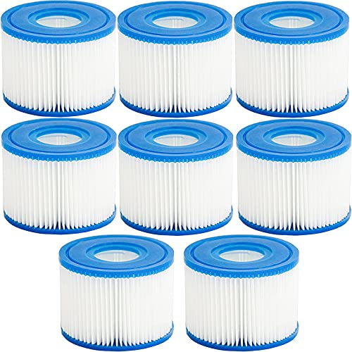 Tispufier Type VI Hot Tub Filter Cartridge for Bestway, Lay-Z-Spa, Coleman SaluSpa 90352E, 58323E, 58323 Swimming Pool Pump, 8 Pack