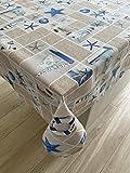 1KDreams Tovaglia Cotone Rettangolare da tavola. Mare Navi fari Stelle Marine Ancore decorano Il Tessuto. Shabby Chic Moderno dal Tocco Estivo ed Esotico. (130x240 cm)