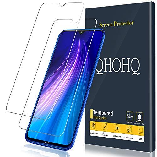 QHOHQ Panzerglas für Xiaomi Mi 9 Lite, Redmi Note 8, Redmi Note 7, Redmi 7, [2 Stück] [9H Festigkeit] Blasenfrei Anti-Kratzen HD Transparent Schutzfolie
