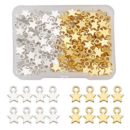Cheriswelry 160 colgantes de estrella tibetana con forma de estrella pequeña y celestial para hacer joyas y manualidades (platino y dorado)