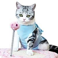 猫 術後服 介護服 エリザベスカラーに代わる 避妊 傷口保護 皮膚保護 術後ウェア 傷舐め 引っ掻き防止 蝶結び かわいい ペット術後服 多色選択