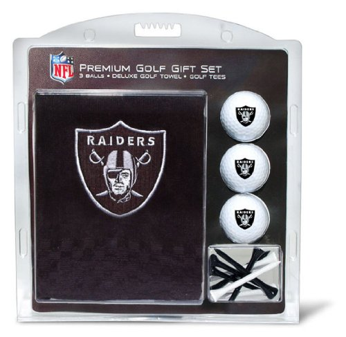Team Golf NFL Oakland Raiders Gift Set Embroidered Golf Towel, 3 Golf Balls, and 14 Golf Tees 2-3/4' Regulation, Tri-Fold Towel 16' x 22' & 100% Cotton