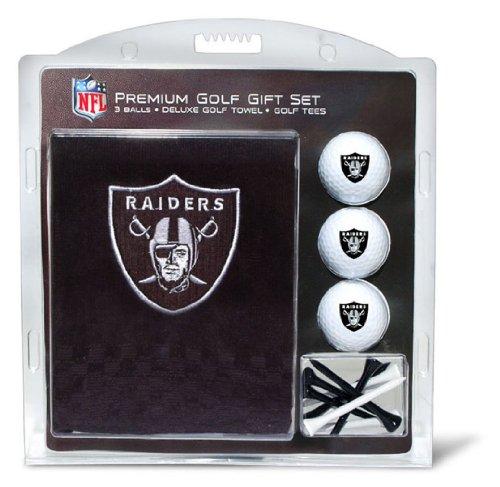 Team Golf NFL Las Vegas Raiders Gift Set Embroidered Golf Towel, 3 Golf Balls, and 14 Golf Tees 2-3/4' Regulation, Tri-Fold Towel 16' x 22' & 100% Cotton