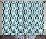 ABAKUHAUS Türkis Rustikaler Gardine, Marokkanischer Orient, Schlafzimmer Kräuselband Vorhang mit Schlaufen und Haken, 280 x 245 cm, Blaugrau und Hellblau