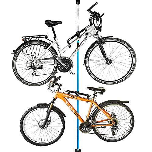 ALLEGRA Fahrradhalterung Wand Fahrradaufhängung Fahrradwandhalterung Fahrrad Halterung (Blau, 2 Halter + Stange 200cm - 375cm)