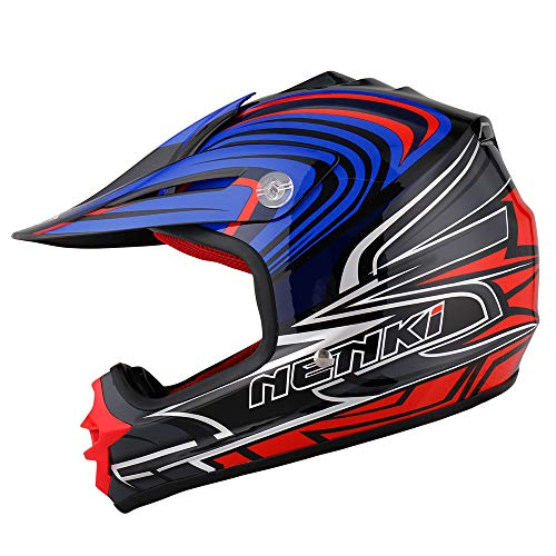 NENKI NK-303 Kinder Motocross Offroad Helm Für Kinder Dirt Bike(Blau Schwarz Weiß,XXS 51-52CM)