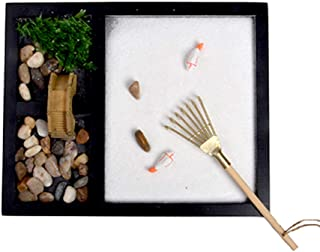 HOMELEX Zen Garden Meditation Rock and Sand Garden for Office Desk and Home 7 x 9 Inches Mini Zen Gifts (SCZ51)
