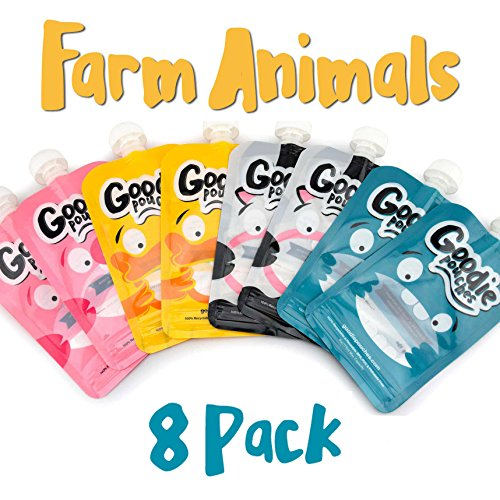 Goodie Pouches Reusable Homemade Puree and Smoothie Baby Squeeze Pouches for Kids, (8pk Farm Animals)