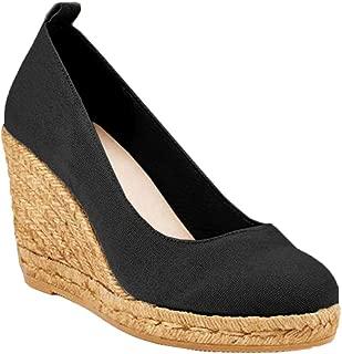 Ermonn Womens Espadrilles Wedge Shoes Platform High Heels Pumps Closed Toe Slip On Sandals